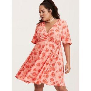 TORRID | Floral Print Georgette Faux Wrap Dress